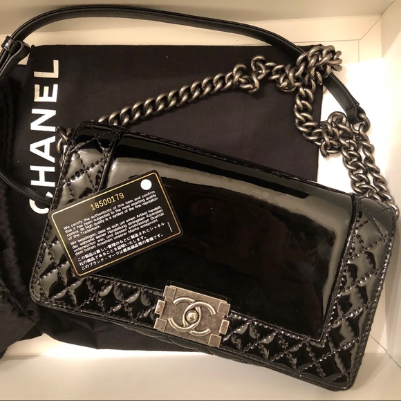 744563485fc1 CHANEL Handbags - Chanel medium black patent flap boy reverso bag